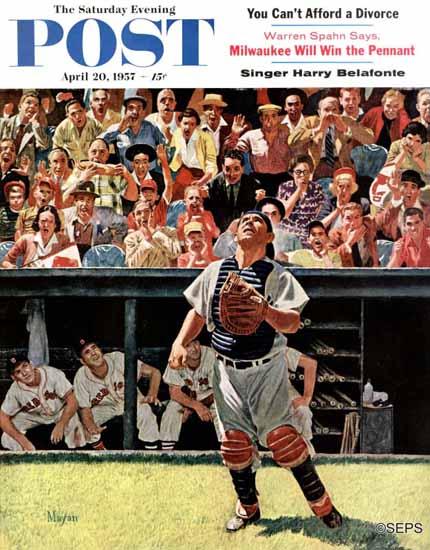 Earl Mayan Saturday Evening Post Yogi Berra 1957_04_20 | The Saturday Evening Post Graphic Art Covers 1931-1969