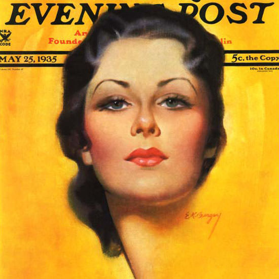 Earle K Bergey Saturday Evening Post Brunette 1935_05_25 Copyright crop | Best of 1930s Ad and Cover Art