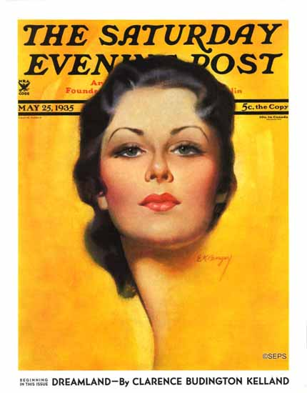 Earle K Bergey Saturday Evening Post Brunette 1935_05_25 Sex Appeal | Sex Appeal Vintage Ads and Covers 1891-1970