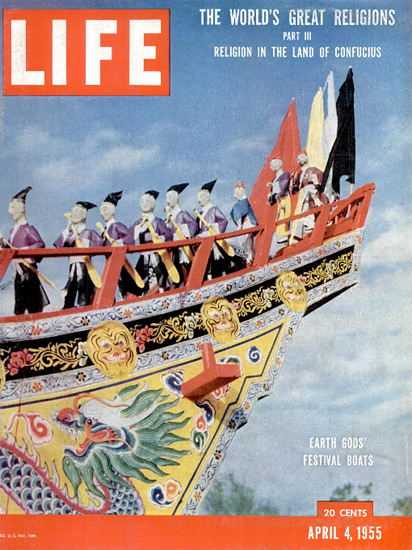 Earth Gods Festival Boats 4 Apr 1955 Copyright Life Magazine | Life Magazine Color Photo Covers 1937-1970