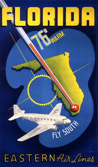 Eastern Air Lines Florida Fly South 1938 | Vintage Travel Posters 1891-1970