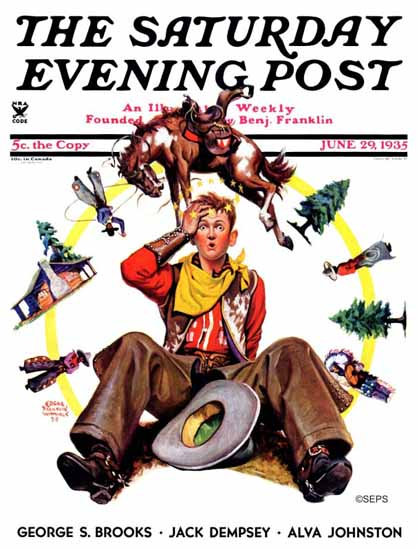 Edgar Franklin Wittmack Saturday Evening Post Bronco Buster 1935_06_29 | The Saturday Evening Post Graphic Art Covers 1931-1969