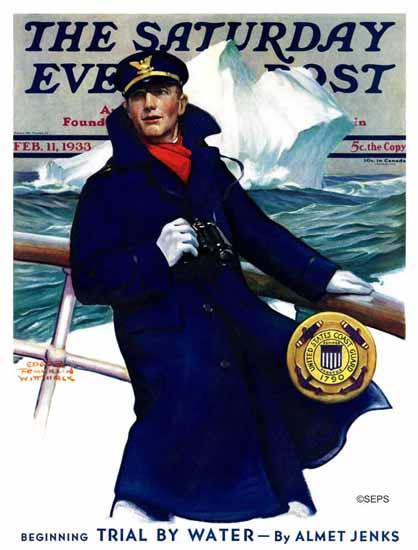 Edgar Franklin Wittmack Saturday Evening Post Coast Guard 1933_02_11 | The Saturday Evening Post Graphic Art Covers 1931-1969
