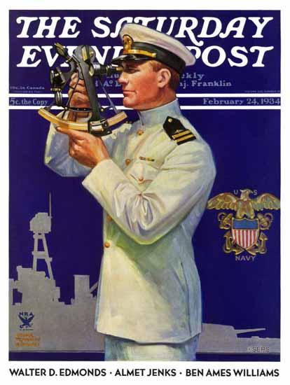 Edgar Franklin Wittmack Saturday Evening Post Naval Officer 1934_02_24 | The Saturday Evening Post Graphic Art Covers 1931-1969