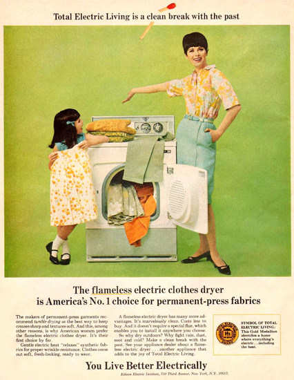 Edison Electric Inst Flameless Clothes Dryer 1967 | Vintage Ad and Cover Art 1891-1970