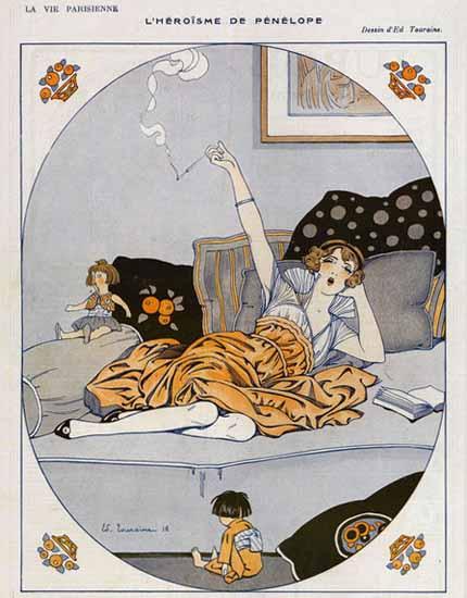 Edouard Touraine La Vie Parisienne 1916 Penelope page | La Vie Parisienne Erotic Magazine Covers 1910-1939