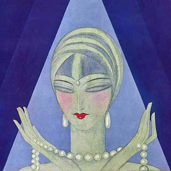 Eduardo Garcia Benito Vogue Cover 1927-12-01 Copyright crop | Best of Vintage Cover Art 1900-1970