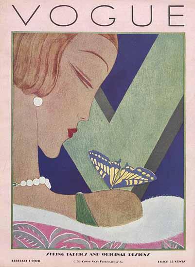 Eduardo Garcia Benito Vogue Cover 1928-02-01 Copyright   Vogue Magazine Graphic Art Covers 1902-1958