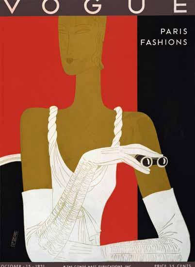 Eduardo Garcia Benito Vogue Cover 1931-10-15 Copyright | Vogue Magazine Graphic Art Covers 1902-1958