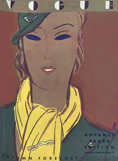 Eduardo Garcia Benito Vogue Cover 1933-08-01 Copyright | Vogue Magazine Graphic Art Covers 1902-1958