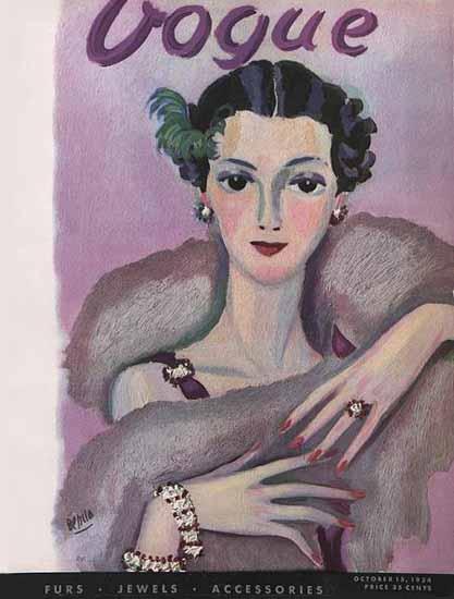 Eduardo Garcia Benito Vogue Cover 1934-10-15 Copyright | Vogue Magazine Graphic Art Covers 1902-1958