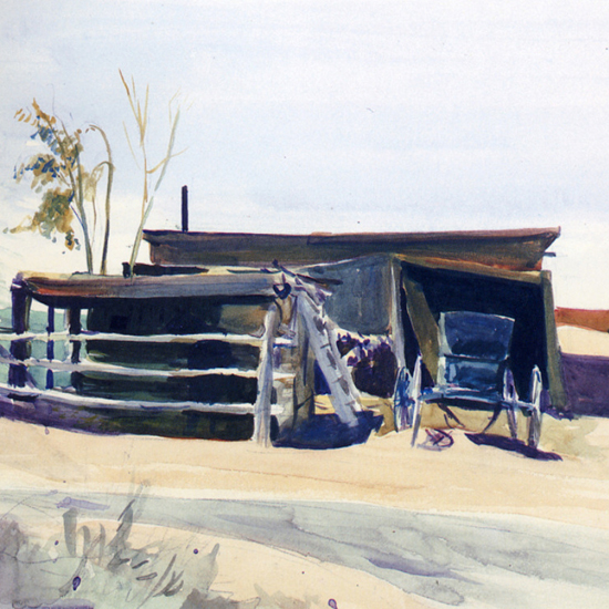 Edward Hopper Adobes and Shed New Mexico 1925 crop | Edward Hopper Paintings, Aquarelles, Illustrations, Ads 1900-1966