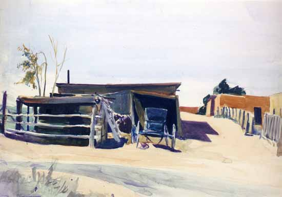 Edward Hopper Adobes and Shed New Mexico 1925 | Edward Hopper Paintings, Aquarelles, Illustrations, Ads 1900-1966