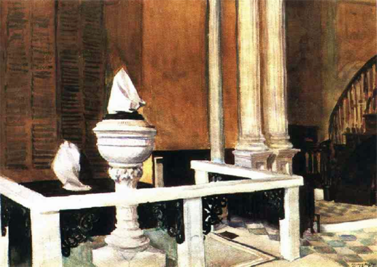 Edward Hopper Baptistry of St Johns 1929 | Edward Hopper Paintings, Aquarelles, Illustrations, Ads 1900-1966