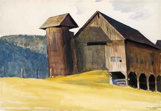Edward Hopper Barn and Silo Vermont 1929   Edward Hopper Paintings, Aquarelles, Illustrations, Ads 1900-1966