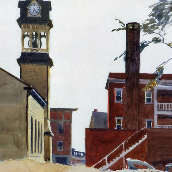 Edward Hopper Bell Tower 1923 crop | Edward Hopper Paintings, Aquarelles, Illustrations, Ads 1900-1966