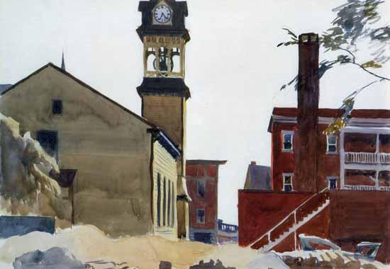 Edward Hopper Bell Tower 1923 | Edward Hopper Paintings, Aquarelles, Illustrations, Ads 1900-1966
