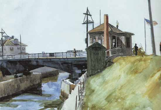 Edward Hopper Blynman Bridge 1923 | Edward Hopper Paintings, Aquarelles, Illustrations, Ads 1900-1966