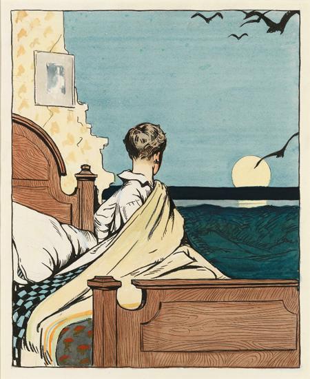 Edward Hopper Boy and Moon 1907 | Edward Hopper Paintings, Aquarelles, Illustrations, Ads 1900-1966
