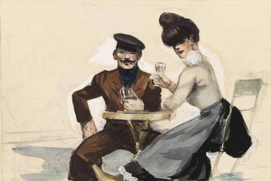 Edward Hopper Couple Drinking 1907 | Edward Hopper Paintings, Aquarelles, Illustrations, Ads 1900-1966