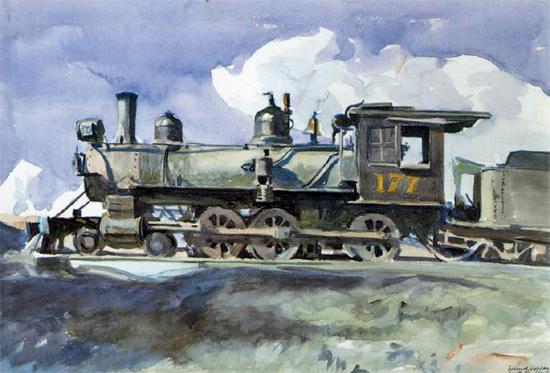 Edward Hopper DRG Locomotive 1925 | Edward Hopper Paintings, Aquarelles, Illustrations, Ads 1900-1966