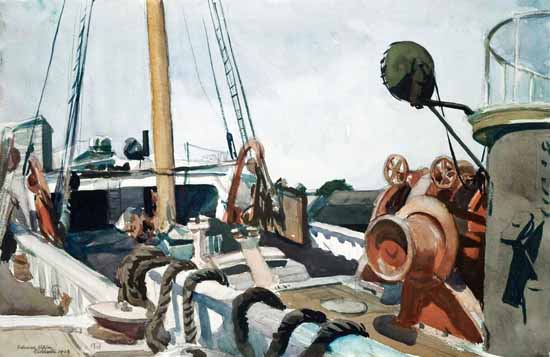 Edward Hopper Deck of a Beam Trawler Gloucester 1923 | Edward Hopper Paintings, Aquarelles, Illustrations, Ads 1900-1966