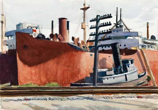 Edward Hopper Docked Freighter and Tugboat 1938 | Edward Hopper Paintings, Aquarelles, Illustrations, Ads 1900-1966