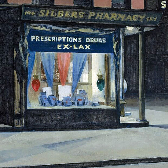 Edward Hopper Drugstore 1927 crop A | Edward Hopper Paintings, Aquarelles, Illustrations, Ads 1900-1966