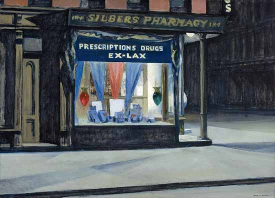 Edward Hopper Drugstore 1927 | Edward Hopper Paintings, Aquarelles, Illustrations, Ads 1900-1966