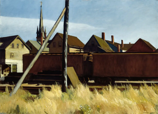 Edward Hopper Freight Cars 1928 | Edward Hopper Paintings, Aquarelles, Illustrations, Ads 1900-1966