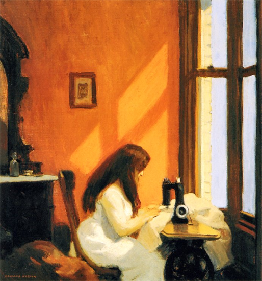 Edward Hopper Girl at a Sewing Machine 1921 | Edward Hopper Paintings, Aquarelles, Illustrations, Ads 1900-1966