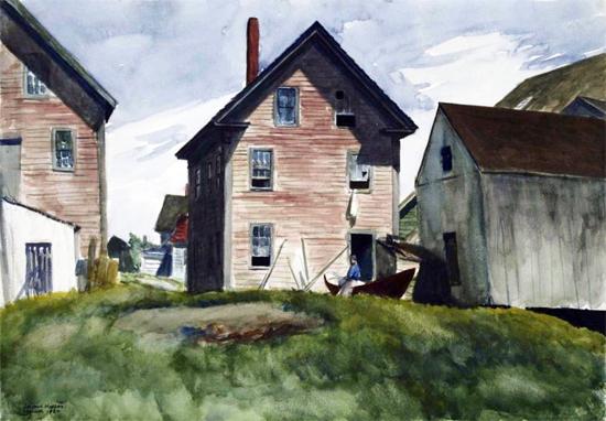 Edward Hopper Gloucester Mansion 1924 | Edward Hopper Paintings, Aquarelles, Illustrations, Ads 1900-1966