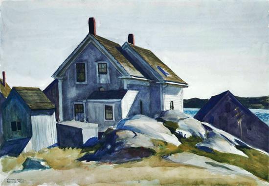 Edward Hopper House at the Fort Gloucester 1924   Edward Hopper Paintings, Aquarelles, Illustrations, Ads 1900-1966