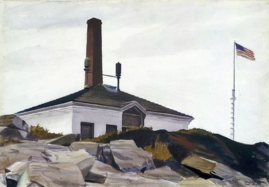 Edward Hopper House of the Foghorn 1927 | Edward Hopper Paintings, Aquarelles, Illustrations, Ads 1900-1966