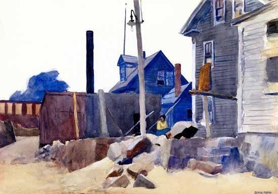 Edward Hopper House on the Shore 1924 | Edward Hopper Paintings, Aquarelles, Illustrations, Ads 1900-1966