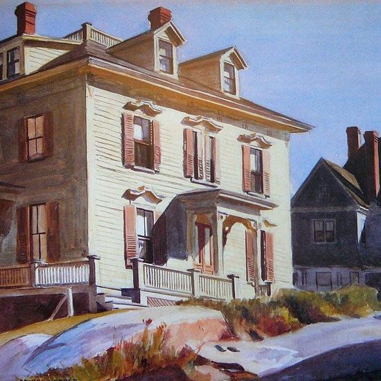 Edward Hopper Houses on a Hill 1926 crop | Edward Hopper Paintings, Aquarelles, Illustrations, Ads 1900-1966