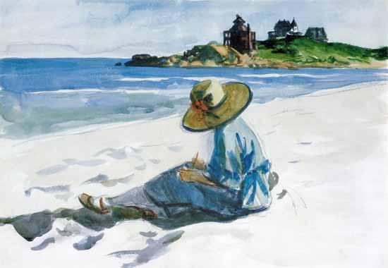 Edward Hopper Jo Sketching at Good Harbour Beach 1923   Edward Hopper Paintings, Aquarelles, Illustrations, Ads 1900-1966