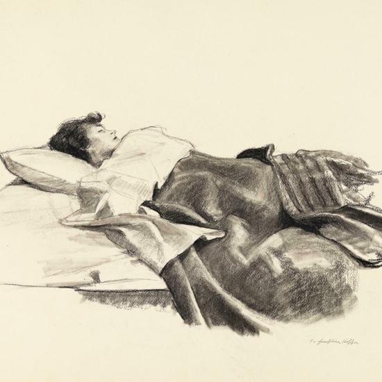 Edward Hopper Jo Sleeping 1924 Study crop | Edward Hopper Paintings, Aquarelles, Illustrations, Ads 1900-1966