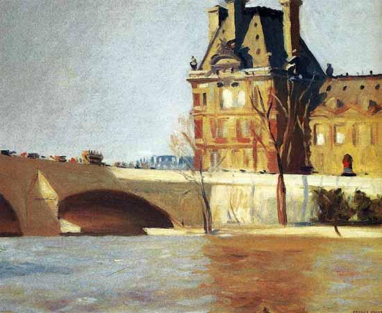 Edward Hopper Le Pont Royal 1909 | Edward Hopper Paintings, Aquarelles, Illustrations, Ads 1900-1966
