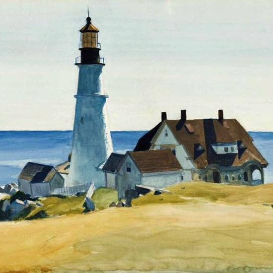Edward Hopper Lighthouse Portland Head Cape Elizabeth Maine 1927 crop | Edward Hopper Paintings, Aquarelles, Illustrations, Ads 1900-1966