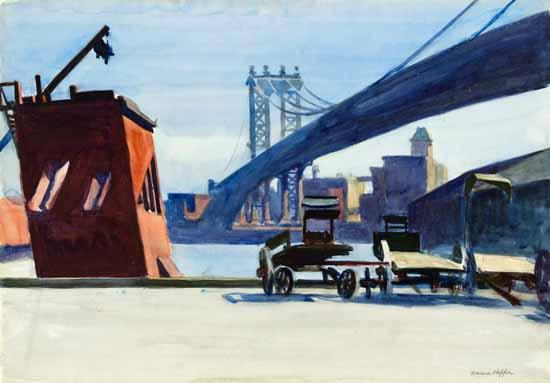 Edward Hopper Manhattan Bridge 1926 | Edward Hopper Paintings, Aquarelles, Illustrations, Ads 1900-1966