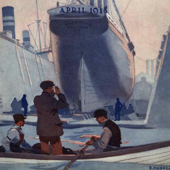 Edward Hopper Morse Dry Dock Dial 4-1918 crop | Edward Hopper Paintings, Aquarelles, Illustrations, Ads 1900-1966