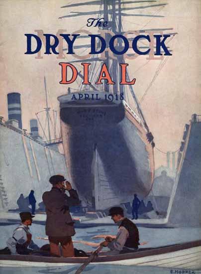 Edward Hopper Morse Dry Dock Dial 4-1918 | Edward Hopper Paintings, Aquarelles, Illustrations, Ads 1900-1966