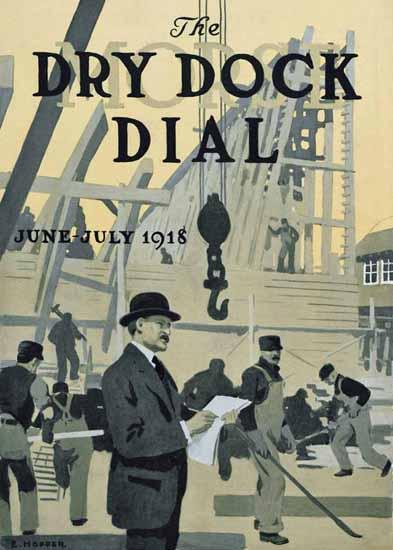Edward Hopper Morse Dry Dock Dial 7-1918 | Edward Hopper Paintings, Aquarelles, Illustrations, Ads 1900-1966