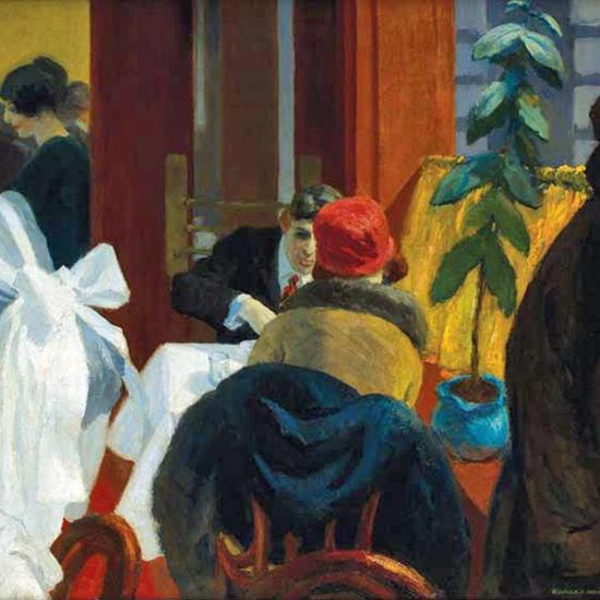 Edward Hopper New York Restaurant 1922 crop   Edward Hopper Paintings, Aquarelles, Illustrations, Ads 1900-1966
