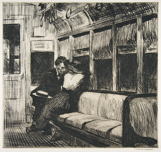 Edward Hopper Night on El Train 1918 | Edward Hopper Paintings, Aquarelles, Illustrations, Ads 1900-1966
