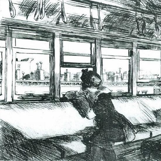 Edward Hopper Night on the El Train 1918 crop | Edward Hopper Paintings, Aquarelles, Illustrations, Ads 1900-1966