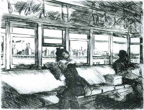 Edward Hopper Night on the El Train 1918 | Edward Hopper Paintings, Aquarelles, Illustrations, Ads 1900-1966