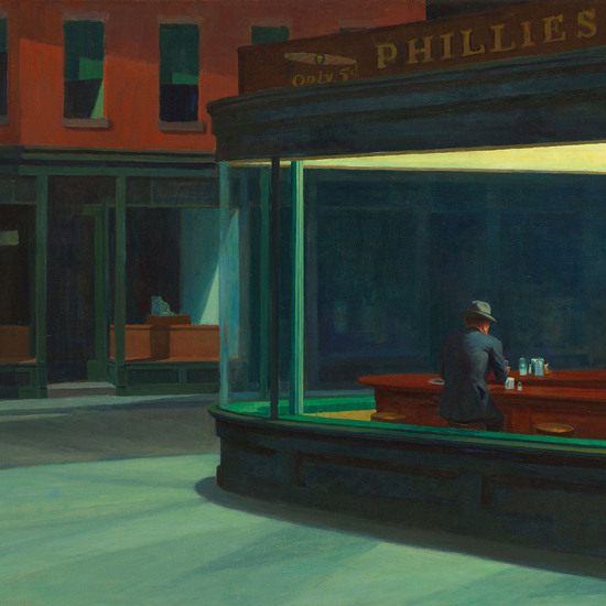 Edward Hopper Nighthawks 1942 crop D | Edward Hopper Paintings, Aquarelles, Illustrations, Ads 1900-1966