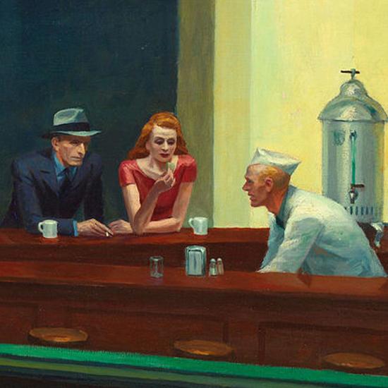 Edward Hopper Nighthawks 1942 crop E | Edward Hopper Paintings, Aquarelles, Illustrations, Ads 1900-1966